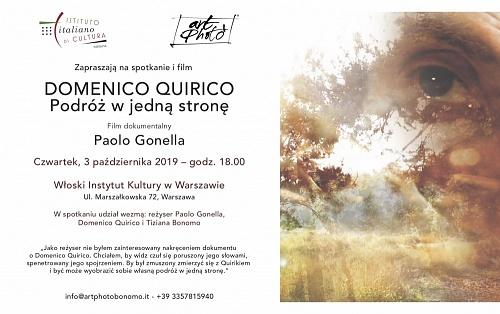 DOMENICO QUIRICO. VIAGGIO SENZA RITORNO  Documentario di Paolo Gonella all'Istituto Italiano di Varsavia