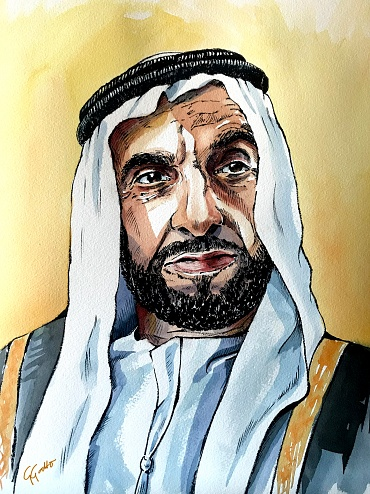 Sheikh Zayed bin Sultan Al Nahyan - Watercolour and ink on paper
