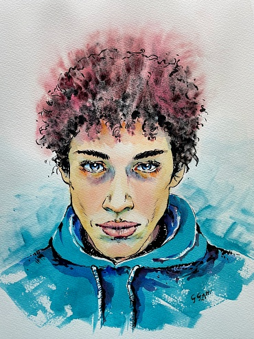 Boy in blue sweatshirt - Watercolour and ink on paper