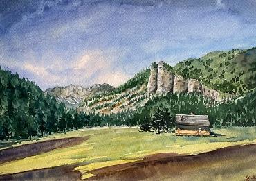 Dolomites - Val San Nicolò - Val di Fassa - SOLD - Watercolour on paper 30x45 cm