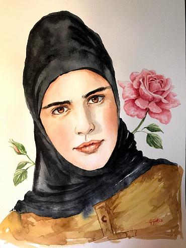 Damask Rose - Rosa di Damasco - 250 euro - Watercolour on paper 30x40 cm