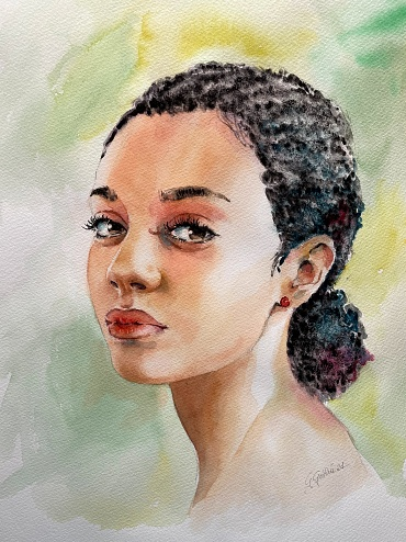 Lady with red earring - Ritratto con orecchino rosso - 250 euro - Watercolour on paper - 30x45 cm