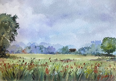 Italian countryside - Umbria - SOLD - watercolour on paper  26x36 cm