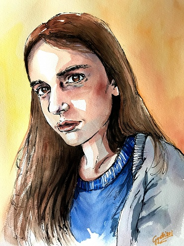 My daughter Anna  - Watercolour and ink on paper 30x40 cm