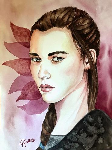 Gray eyes - watercolour on paper 30x40 cm