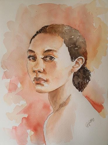 Portrait study - watercolour on paper  30x40 cm