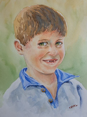 Smile of a child - watercolor on paper 26x36 cm