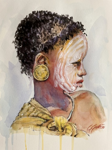 Tribal boy - African Mursi  - watercolour and ink on paper 36x26 cm