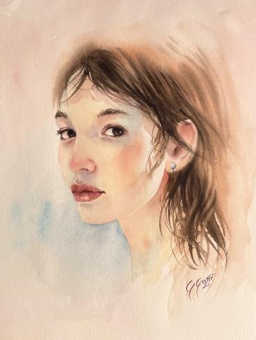 Portrait of a girl - watercolour on paper 31 x 41 cm