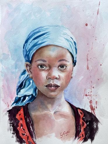 Innocent eyes - watercolour on paper 31 x 41 cm