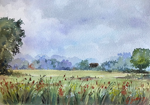 Italian countryside - Umbria - watercolour on paper 26x36 cm