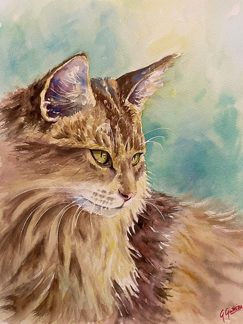 Fabolous cat - Watercolour on paper 30x40 cm