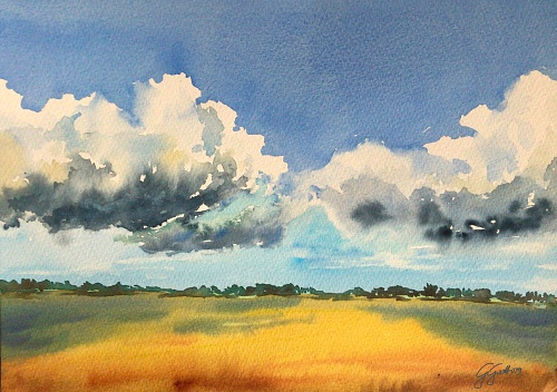 Summer clouds - Watercolour on paper 26x36 cm