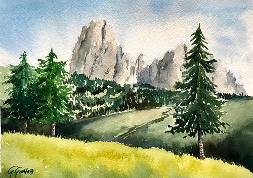 Alpe di Siusi, Dolomites - Dolomiti - Watercolour on paper 26x36 cm
